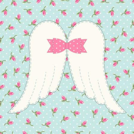 母の日やベビー シャワーや誕生日などのグリーティング カードとして理想的なぼろぼろのシックな弓で天使の羽のかわいいヴィンテージ パッチワ