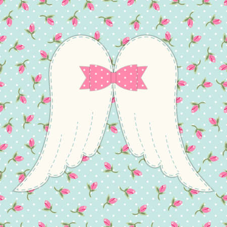 mother and baby: Cute vintage patchwork of angel wings with shabby chic bow ideal as greeting card for Mothers Day or baby shower or birthday etc
