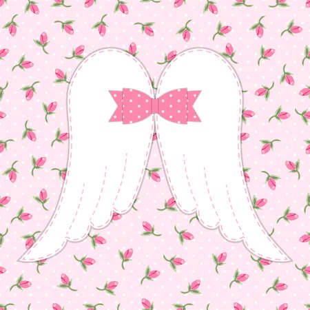 Cute vintage patchwork of angel wings with shabby chic bow ideal as greeting card for Mothers Day or baby shower or birthday etc