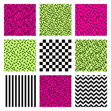 Cute set of geometric patterns in 80s style Illustration
