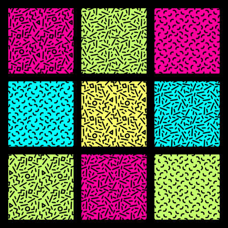 Cute set of seamless geometric patterns in 80s style