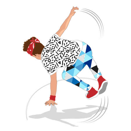80s and 90s style street break dancer Ilustrace
