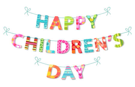 Cute Childrens Day banner as colorful letters