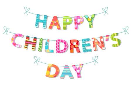 Cute Childrens Day Banner als bunte Buchstaben Standard-Bild - 76966747