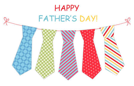 polkadots: Festive retro garland with ties of primitive prints as greeting card for Fathers day Illustration
