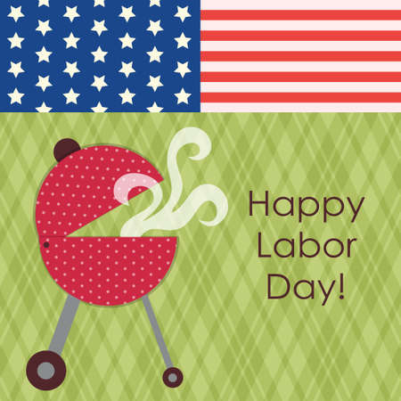 Cute Grill cookout as vintage Labor Day card Vectores