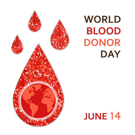 hemophilia: World Blood Donor Day banner with red glitter blood drop as donation concept