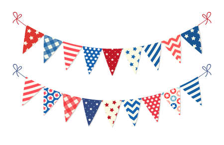 Cute USA festive bunting flags in traditional colors ideal as american holidays banner Stock Vector - 77508475