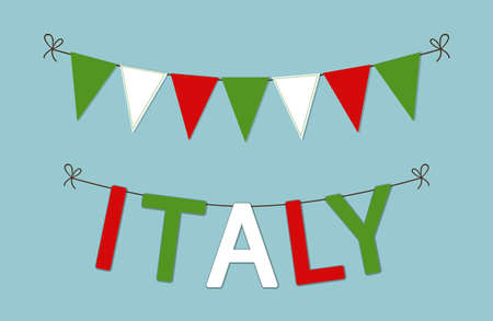 Cute bunting flags with letters in traditional colors of Italy