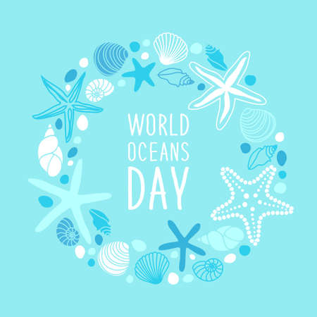 World Oceans Day with hand drawn shells and starfishes and hand written text. Illustration