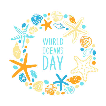Cute World Oceans Day background with hand drawn shells and starfishes and hand written text Vettoriali