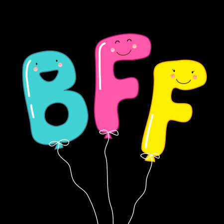 Cute Smiling Cartoon Characters Letters BFF Best Friends