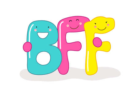 Cute smiling cartoon characters of letters BFF (Best Friends Forever)
