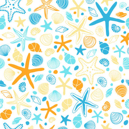 Cute vintage seamless pattern with hand drawn shells and starfishes Иллюстрация