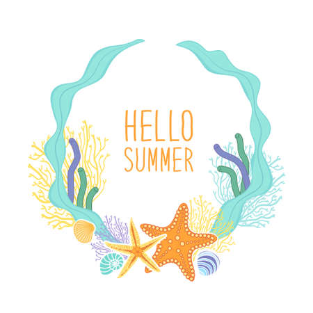 Cute vintage frame with hand drawn shells and starfishes and hand written text Hello Summer Illustration