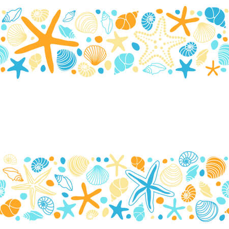 Cute summer background with different shells and starfishes as seamless borders