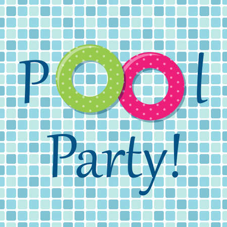 Pool party invitation as two rubber rings on pool tiles background 일러스트