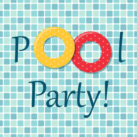 beach party: Pool party invitation as two rubber rings on pool tiles background Illustration