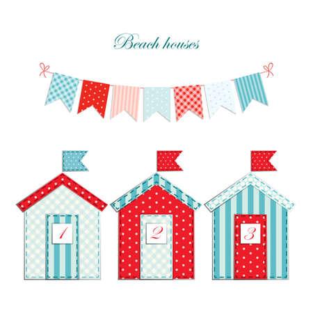 Cute beach huts as retro fabric applique Illustration