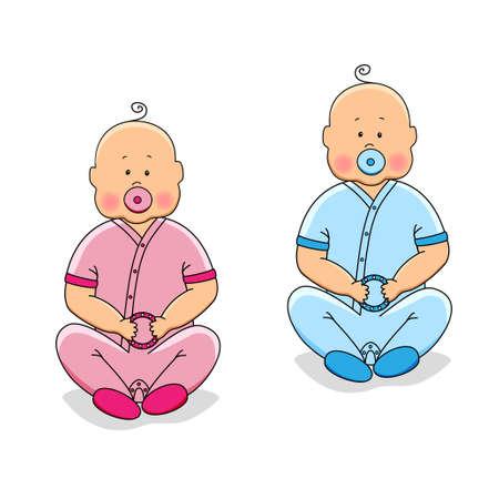 twin sister: Cute cartoon characters of newborn babies