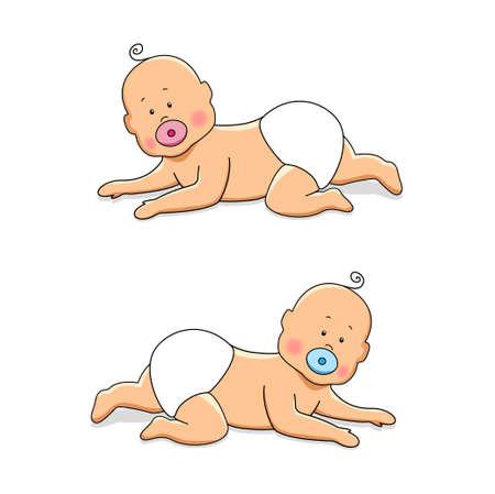 fertilization: Cute cartoon characters of newborn babies