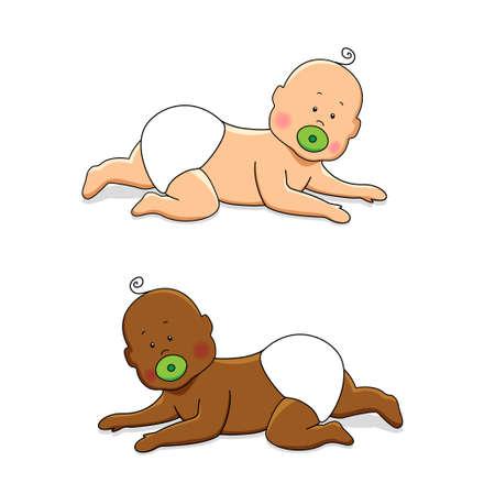 Cute cartoon characters of newborn babies