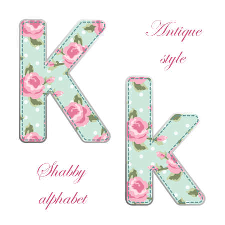 Fabric retro letters in shabby chic style for your decoration