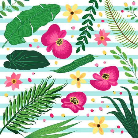 Beautiful botanical pattern with tropical flowers and foliage as banana palm tree leaves Illustration