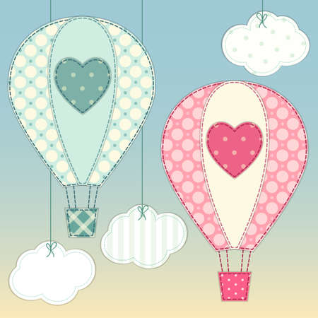 Cute hot air balloons as retro fabric applique in shabby chic style for your decoration
