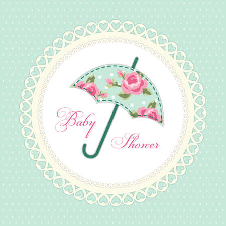 baby: Cute vintage baby shower card with umbrella as fabric applique Illustration