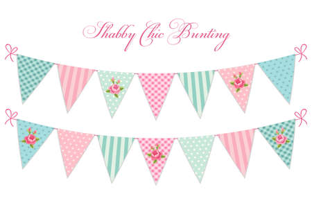 Cute vintage shabby chic textile bunting flags ideal for baby shower, wedding, birthday