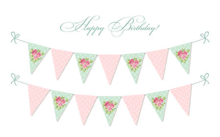 cute vintage shabby chic textile bunting flags ideal for baby rh 123rf com shabby chic bunting wedding shabby chic bunting vector