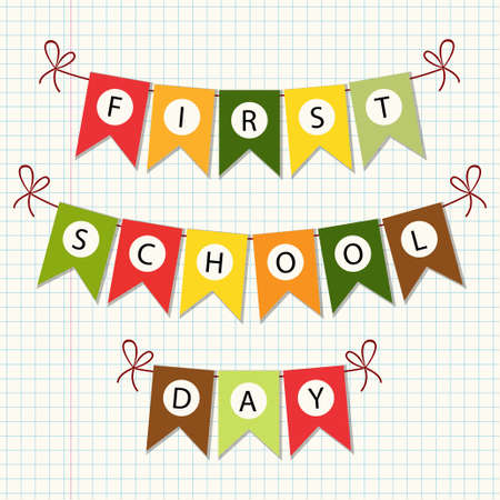 first day: Cute Back to School bunting with multicolored flags
