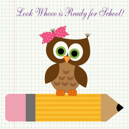 first grader: Cute character of little owl sitting on a pencil against copybook squared paper background