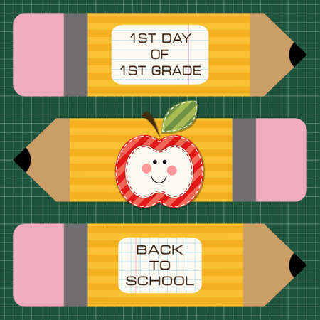 first day: Cute school yellow pencils with pink rubber