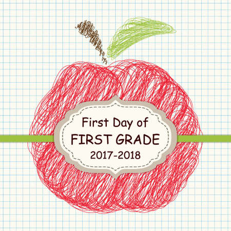 Cute Back to School theme frame with apple sketch on copybook squared paper background