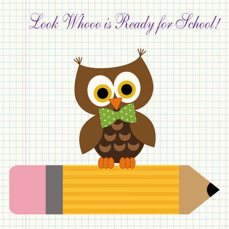 first grader: Cute character of little owl sitting on a pencil against copybook squared paper background as a symbol of young and curious first grader