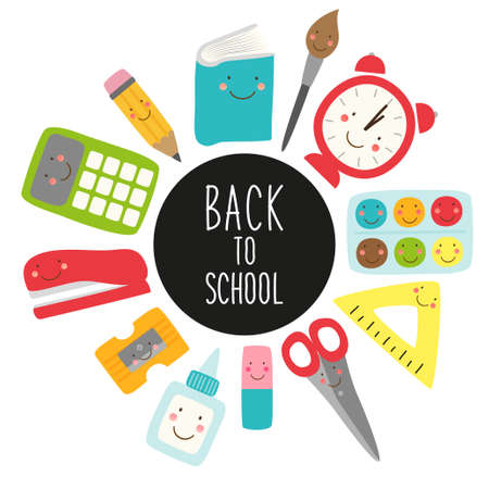 Cute childish Back to School supplies as smiling cartoon characters Illustration