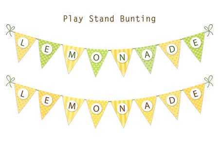 Cute vintage textile green and yellow shabby chic bunting flags for summer festivals, birthday, baby shower