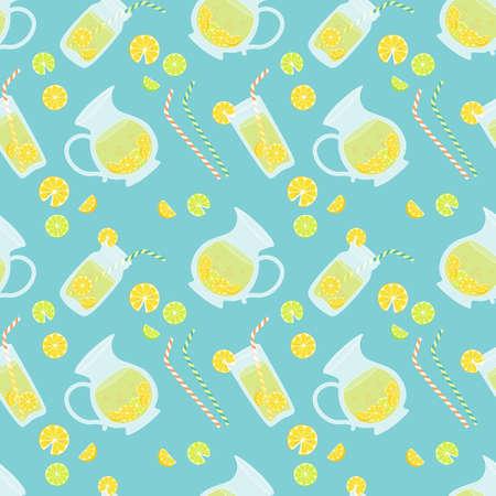 Cute vintage seamless pattern Fresh Lemonade for your decoration