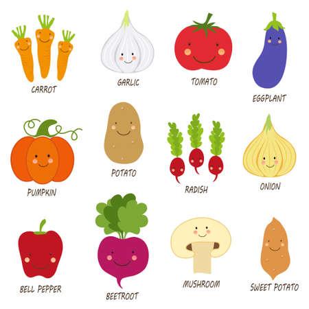 Cute smiling characters of veggies