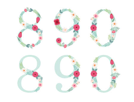 Cute vintage numbers with hand drawn rustic flowers Illustration