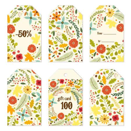 Nette Herbst Geschenk-Tags Bündel mit Hand gezeichnet rustikale Blumen und Blätter Ornament Standard-Bild - 80402480