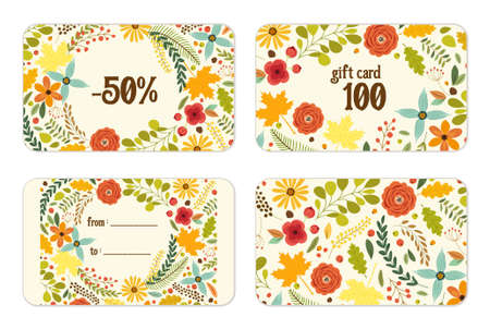 dinner party: Cute autumn gift tags bundle with hand drawn rustic flowers and leaves ornament