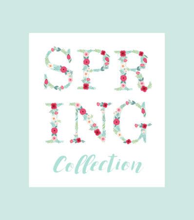 super market: Beautiful seasonal shop banner with letters decorated with hand drawn rustic flowers Illustration