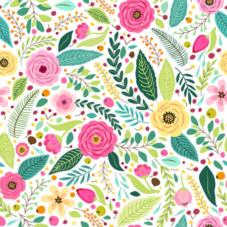 Cute seamless pattern with rustic hand drawn first spring flowers