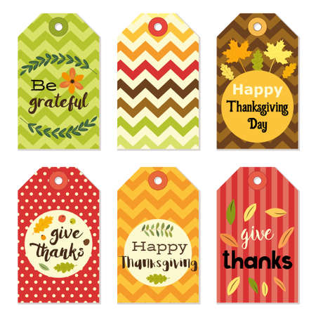 dinner party: Cute autumn gift tags bundle in traditional colors Illustration