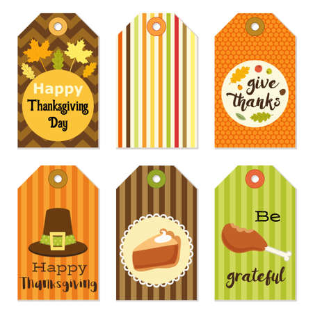 dinner party: Cute autumn gift tags bundle in traditional colors Stock Photo