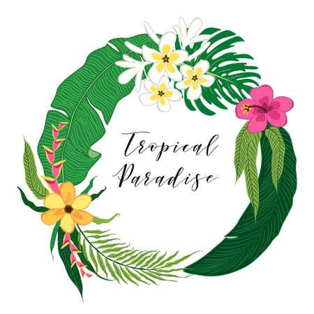 Belle fleur tropicale et couronne de feuilles de palmier comme cadre Banque d'images - 80832426