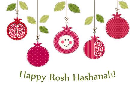 Cute bright pomegranates garland as Rosh Hashanah Jewish New Year symbols